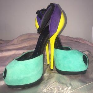 Giuseppe Sanotti Color Block Suede Platform Sandal